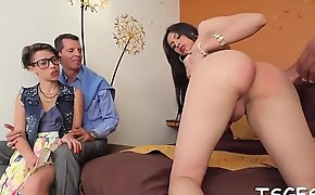 Shemale rides one-eyed monster and cums