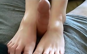 Footjob hither clothes