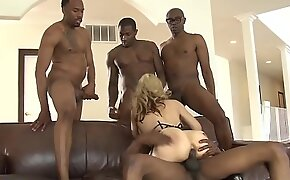 Ass banged milf surrounded by black dicks