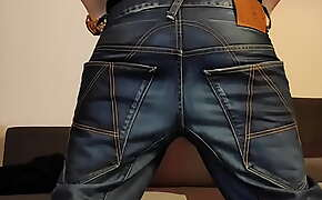 Boy jerking in G-star raw A-crotch baggy jeans